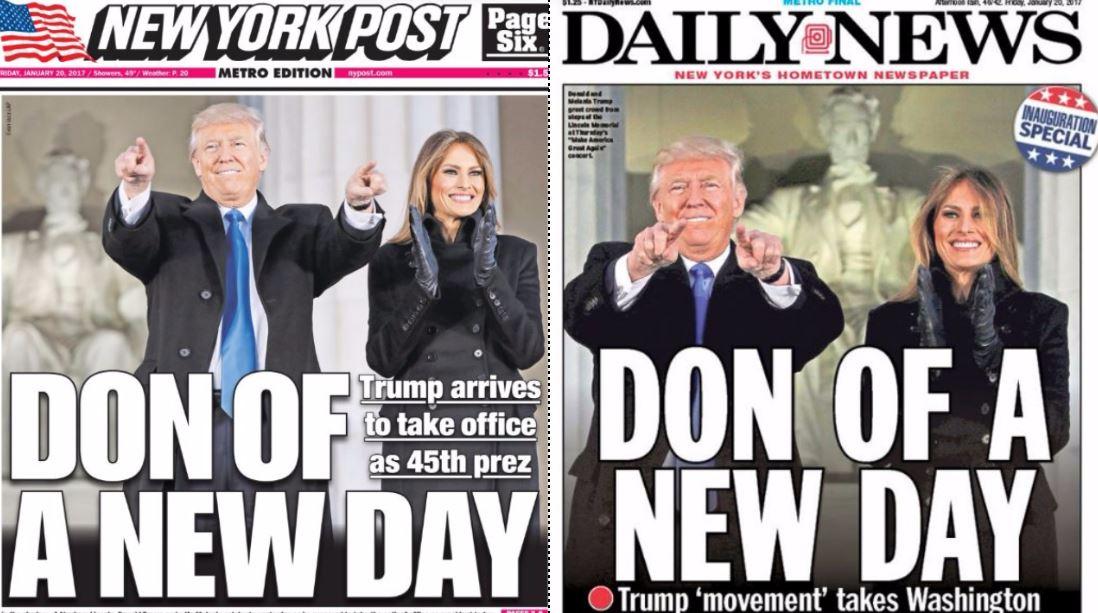 PHOTO: NY Daily News And NY Post Have Same Headline On Inauguration Day