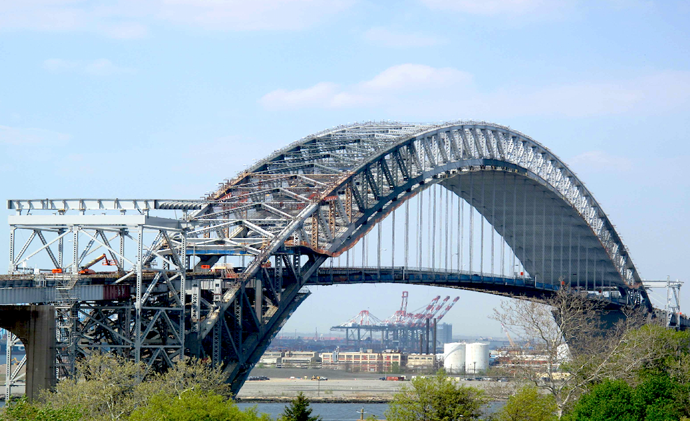 Vehicles Traveling Again On Newly Raised Bayonne Bridge