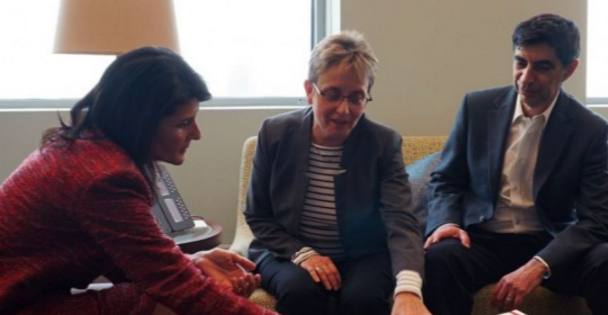 America's UN Ambassador Meets With The Parents Of IDF Lt. Hadar Goldin HY'D Whose Remains Were Taken By Hamas