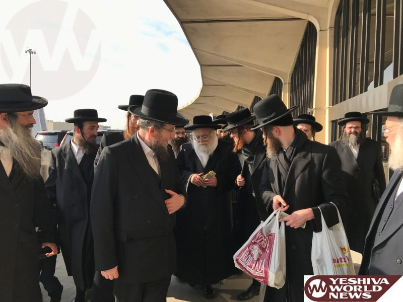 Photo Essay: The Toldos Aharon Rebbe In The Airport In New York As He Returns To Eretz Yisroel (Photos by JDN)