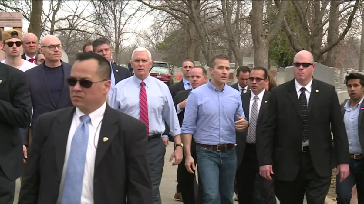 VP Pence Makes Unannounced Stop At Vandalized Jewish Cemetery