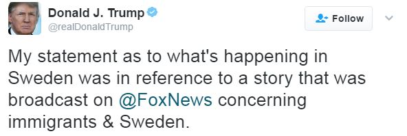 Trump Says Remark About Sweden Referred To Something On TV