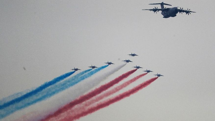 French Fighter Jets Stage Flyover Over New York Harbor For WWI Anniversary