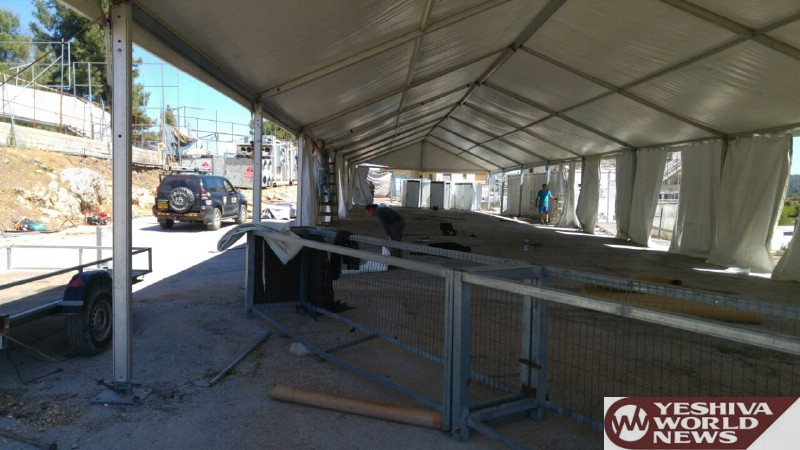 PHOTOS: Giant Tent Is Up In Meron Ahead Of Lag B'Omer