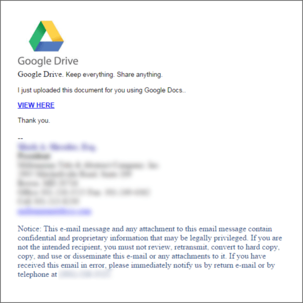 Email scam impersonates Google Docs
