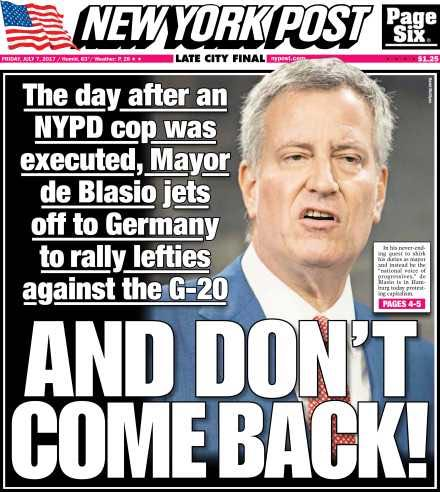 Image result for de blasio germany headline