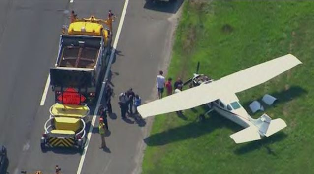 'That's unbelievable': Pilot makes emergency landing between cars on highway