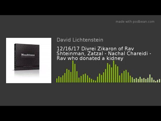 Halacha Headlines: Divrei Zikaron Of Rav Shteinman, Zatzal – Nachal Chareidi – Rav Who Donated A Kidney