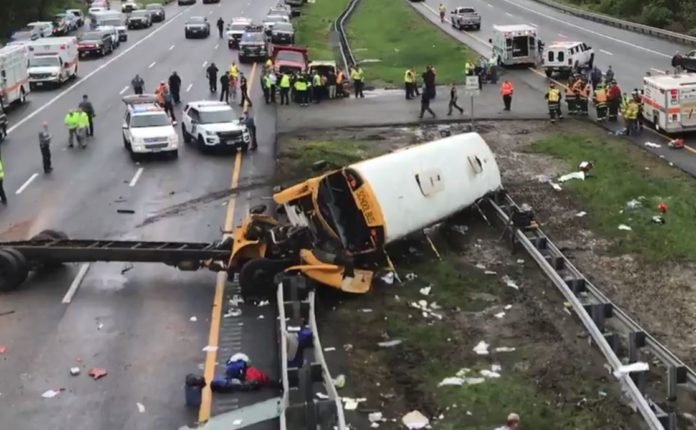 School Bus Crash Closes Route 80