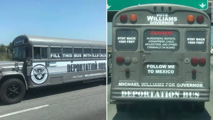 Watch republican candidate for georgia governor campaigns with contest over whos toughest on illegal immigration with campaigns featuring a deportation bus a pickup truck for do it yourself immigrant roundups solutioingenieria Gallery