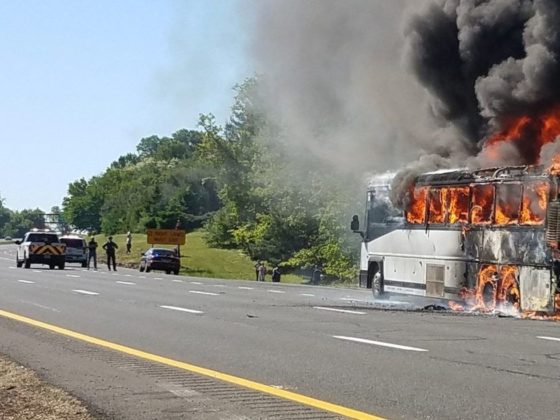 VIDEO: Bus Bursts Into Flames On Garden State Parkway; Driver, Passengers Safe