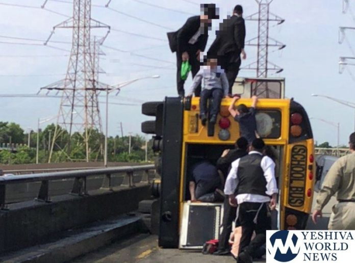 MIRACLE ON THE GOETHALS: Boro Park Yeshiva Bus Overturns On Goethals