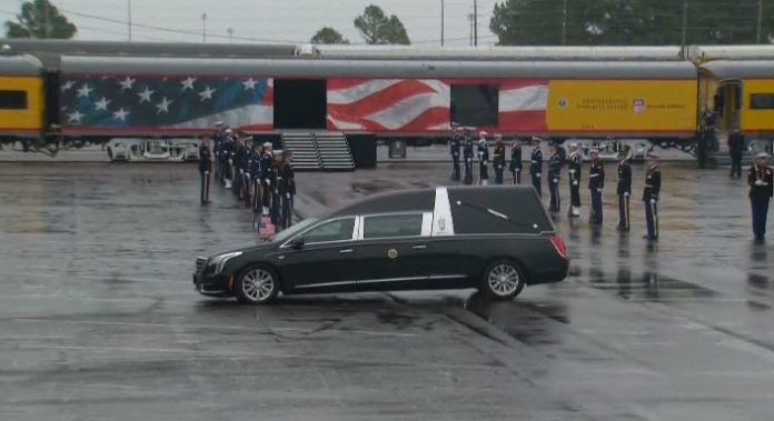 Watch Special Train Carries George H W Bush Across Texas Laid To