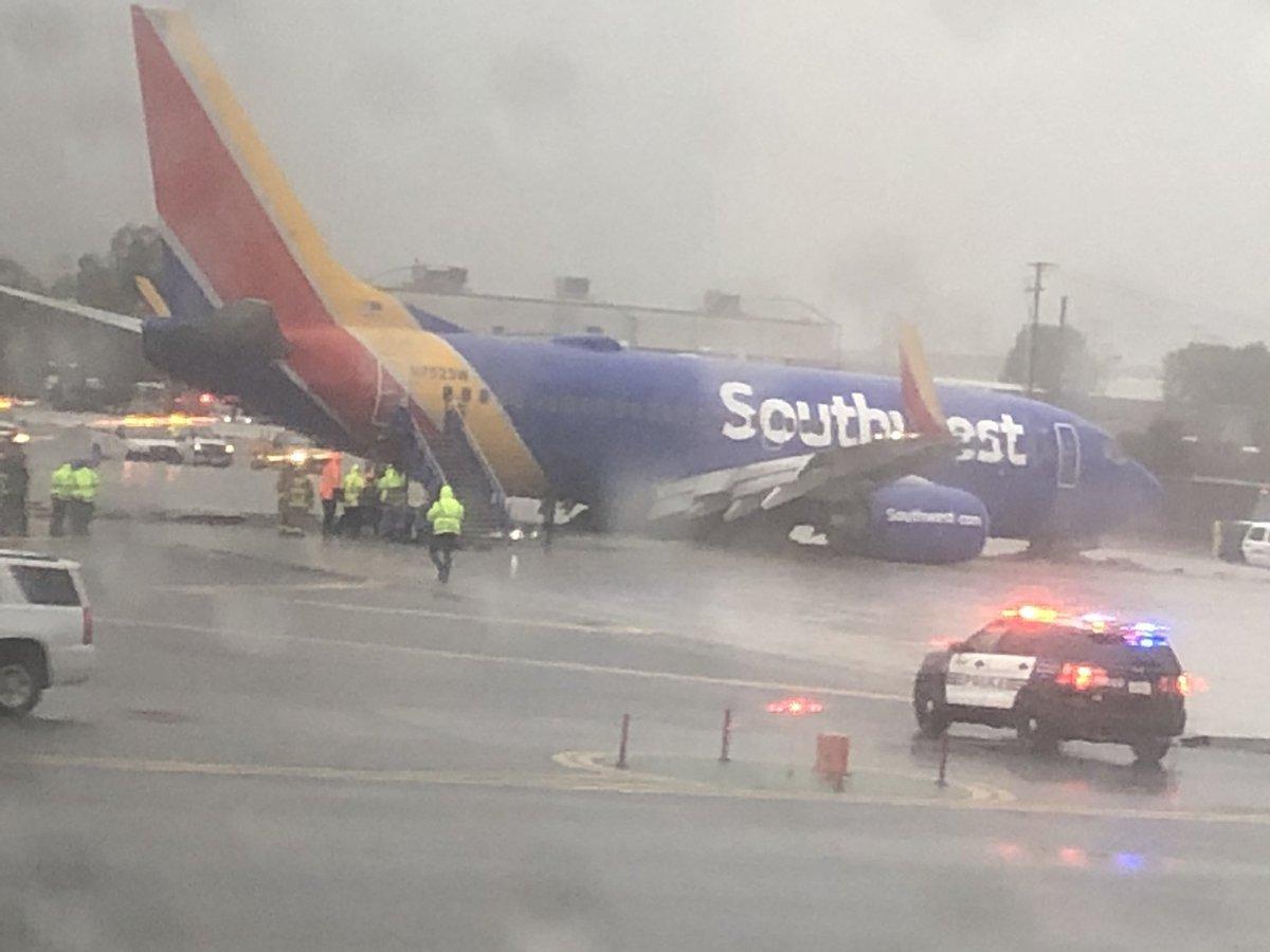 Southwest Plane Slides Off Runway At Hollywood Burbank