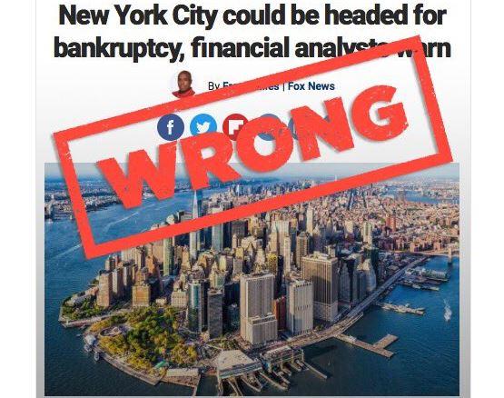 FAKE NEWS? DeBlasio Responds to FOX Report That New York City May Go Bankrupt