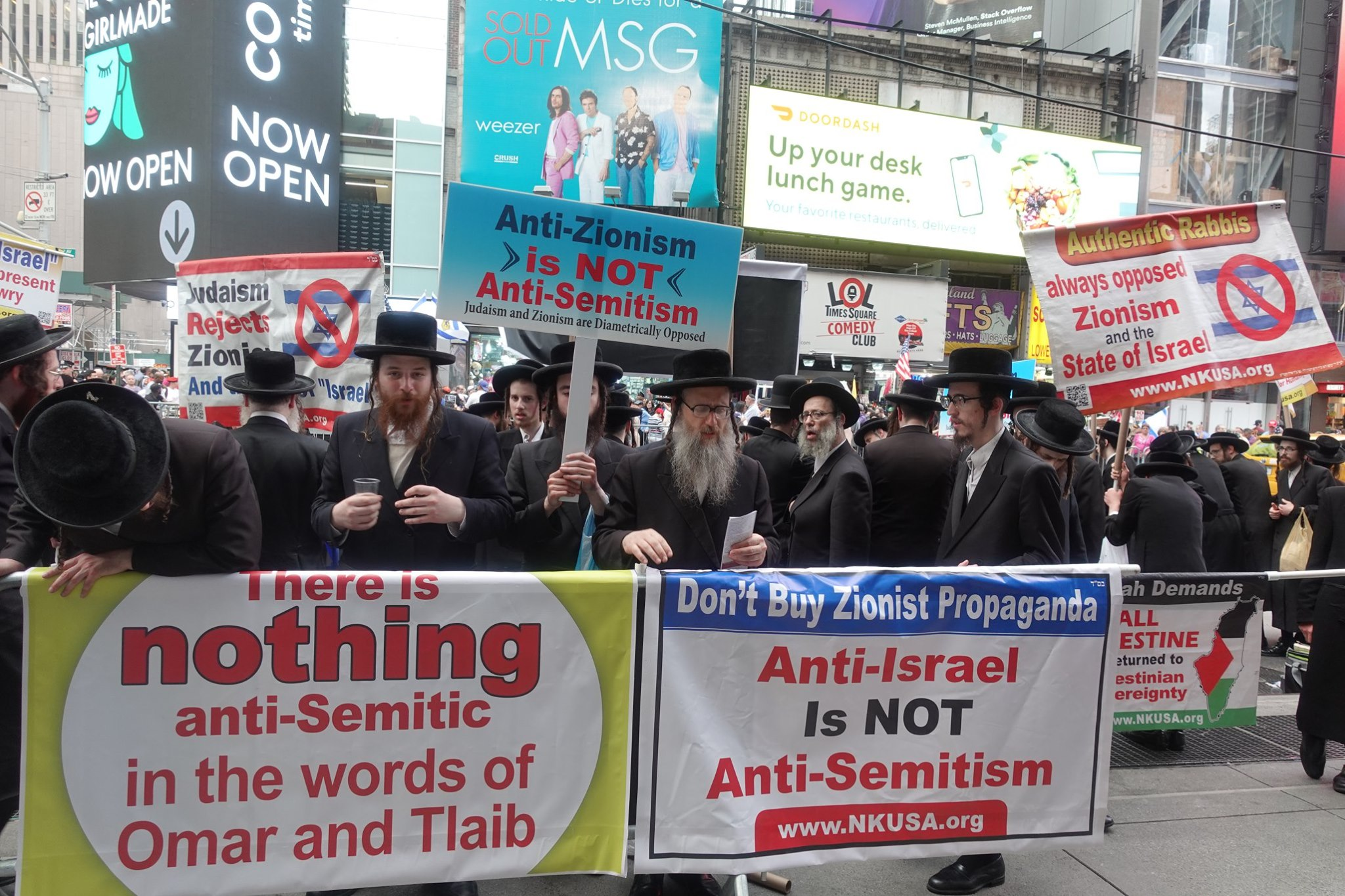 DUELING TIMES SQUARE PROTESTS: Hikind Against Rep  Omar, Neturei