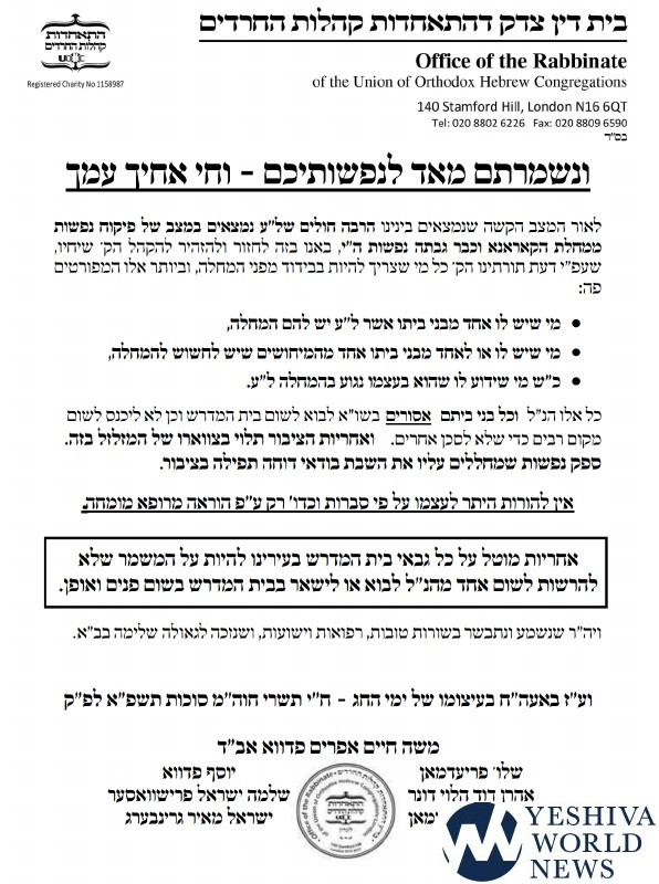 "London Rabbanim Sign Kol Koreh On Chol Hamoed: ""Possible Risk To Life Is Docheh Tefillah B'Tzibur"" 1"